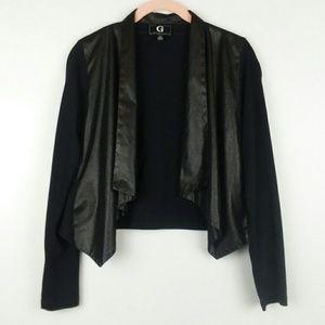 G Giuliana Faux Leather Snakeskin Cardigan Jacket
